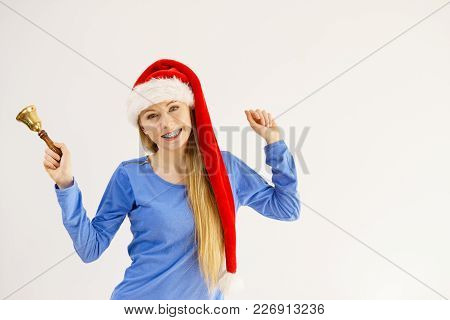 Happy Positive Young Teenage Woman Wearing Santa Claus Christmas Hat Holding Decorative Old Fashione