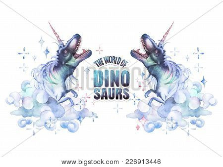 Two Watercolor Dinocorns. Pastel Colored Roaring Tyrannosauruses With Unicorn Horn And Mane Surround