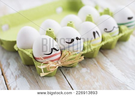 Funny Colorful Eggs With Mustaches In Tray