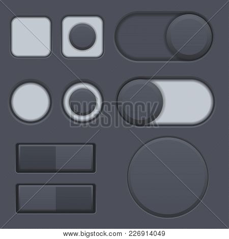 Black Interface Radio Buttons, Toggle Switched. Web Interface Matted Icons. Vector 3d Illustration