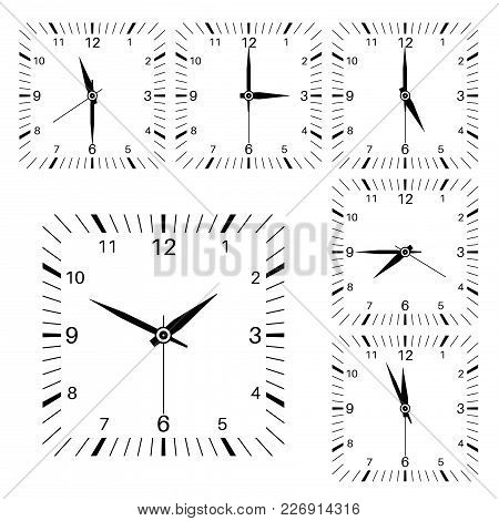 Clock. Square Shaped Clock Set. Vector Illustration