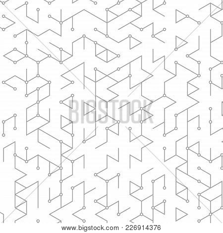 Vector Abstract Background With Cube Cell. Modern Technology Illustration With Square Mesh. Digital