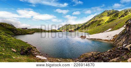 Wonderful Sunny Landscape. Mountain Lake With Perfect Sky. Of Balea Lake Glowing In Sunlight. Creati