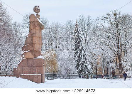 Lviv, Ukraine - February 5, 2018: The Monument Of Ivan Franko Is Covered With Snow