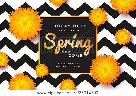 Modern Promotion Spring Web Banner For Social Media Mobile Apps. Elegant Seasonal Sale And Discount