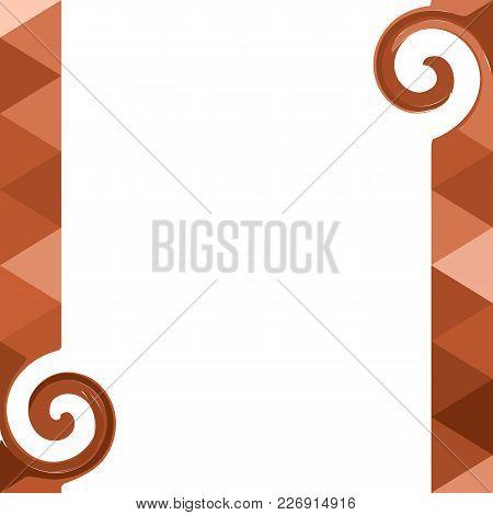 Triangular Shape Orange Desing. Blank Background. Vector Illustration.
