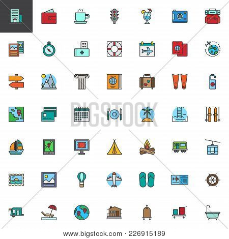 Travel Elements Filled Outline Icons Set, Line Vector Symbol Collection, Linear Colorful Pictogram P