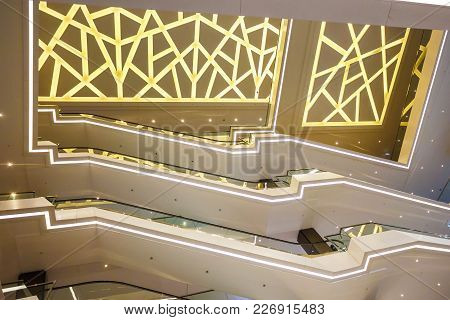 Minsk, Belarus - February 13, 2018: Interior Stylish Modern Trade Centre. View From The Bottom To Th