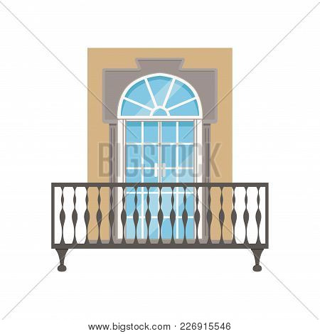 Balcony With Wrought Iron Railing, Classical House Facade Vector Illustration Isolated On A White Ba