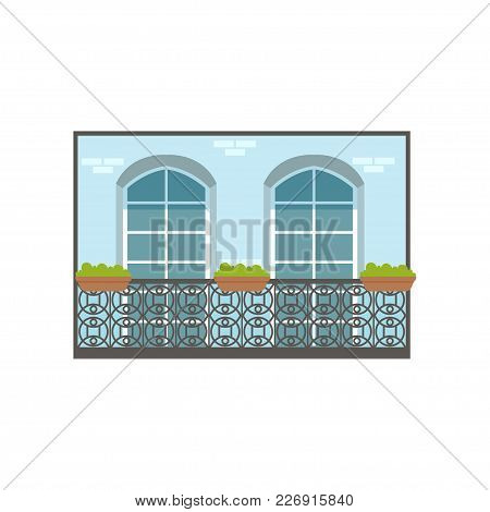 Balcony Of European House With Wrought Iron Railing And Plants Vector Illustration Isolated On A Whi
