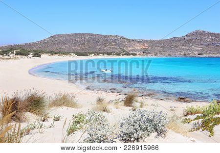 Landscape Of The Beach Of Elafonisos Island Peloponnese Greece