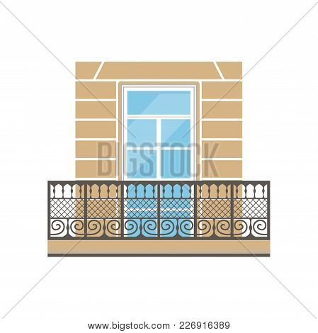 Balcony With Wrought Iron Railing In Classic Style Vector Illustration Isolated On A White Backgroun