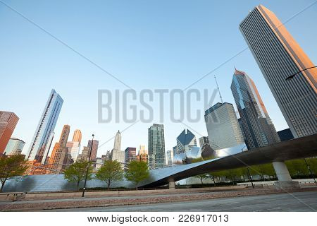 Chicago, Illinois, United States - May 06, 2011: Michigan Avenue Skyline And Bp Pedestrian Bridge In