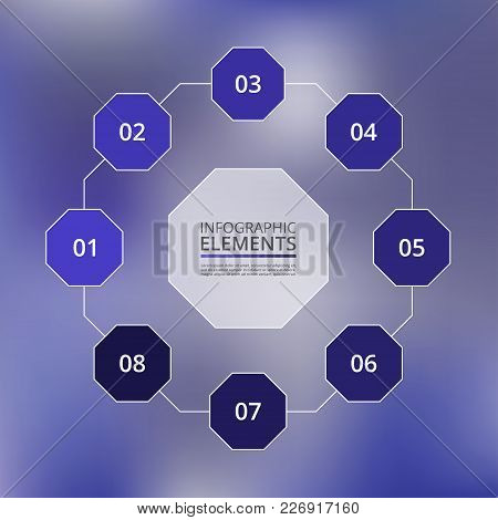 Abstract Infographic Template With 8 Steps For Success On Blur Blue Background. Business Circle Temp
