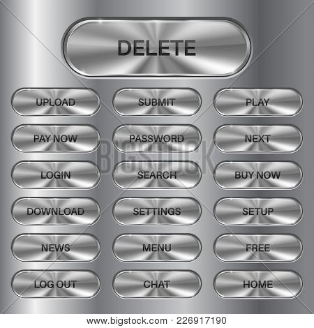 Metal Oval Buttons Set. Stainless Steel Surface For Menu Interface. Vector 3d Illustration