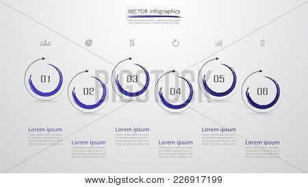 Abstract Infographic Template With 6 Steps For Success. Business Circle Slide With Six Options For B