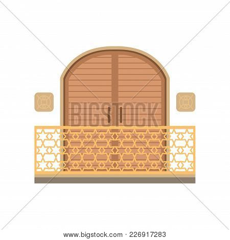 Window With Shutter And Wrought Iron Railing Vector Illustration Isolated On A White Background