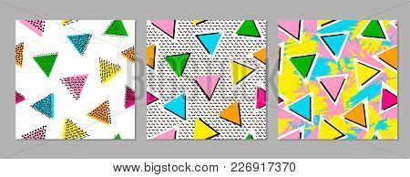 Colorful Geometric Seamless Patterns. Bright Backgrounds. 80's - 90's Years Design Style. Trendy