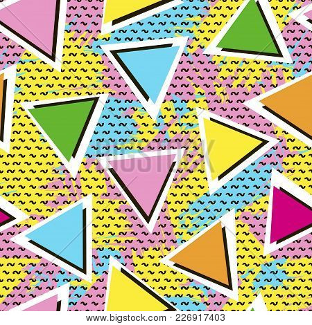 Colorful Seamless Pattern From Triangles On The Bright Brush Strokes Background And Black Dots. 80's