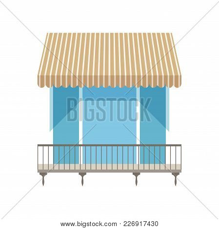 Balcony With Shutters Awning Vector Illustration Isolated On A White Background