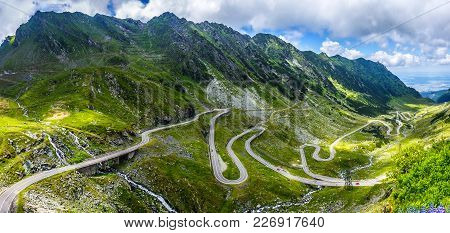 Wonderful Mountain Scenery. Mountain Road With Perfect Blue Sky. Creative Image. Transfagarasan High