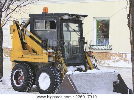 Snow Bulldozer - Clearing Snow On The Winter Street, Urban Landscape
