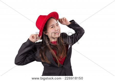 Smiling Asian Business Woman In Black Suit And Red Hat Isolated On White Background