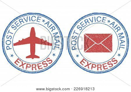 Post Service Express Air Mail Postmarks. Vector Illustration Isolated On White Background