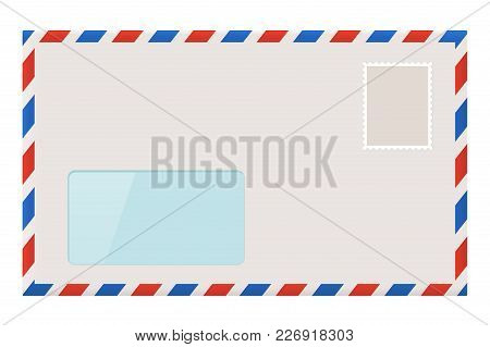 Blank Envelope With Address Window. Vector Illustration Isolated On White Background