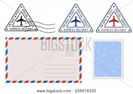 Envelope, Stamp And Triangle Postmarks. Postal Set. Vector Illustration Isolated On White Background