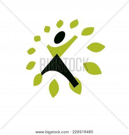 Vector Illustration Of Joyful Abstract Individual With Raised Hands Up. Go Green Idea Creative Logo.