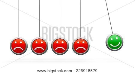 Green Smile Icon Among Red Sad Icons - Conceptual Image Of The Individuality, Three-dimensional Rend
