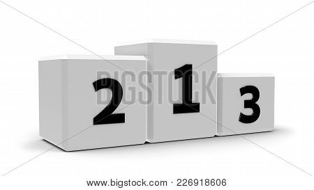 White Podium With Three Rank Places, Three-dimensional Rendering, 3d Illustration
