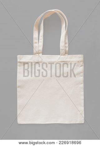 Tote Bag Canvas Fabric Cloth Eco Shopping Sack Mockup Blank Template Isolated On Grey Background (cl