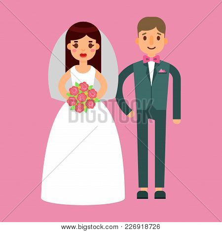 Wedding Couple Is Hugging Each Other Vector Beautiful Model Girl In White Dress And Man In Suit Beau