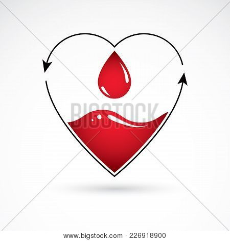 Vector Illustration Of Heart Shape With Arrows And Drops Of Blood. Cardiovascular Illness Treatment