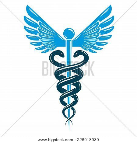Caduceus Symbol Made Using Bird Wings And Poisonous Snakes, Healthcare Conceptual Vector Illustratio