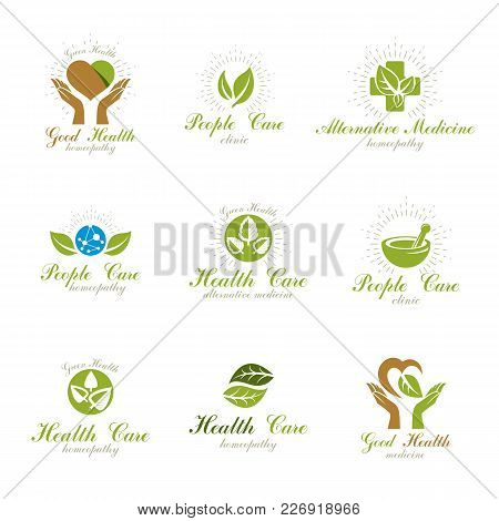 Living In Harmony With Nature Metaphor, Set Of Green Health Idea Logo. Wellness Center Abstract Mode