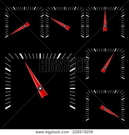 Universal Square Gage Scale On Black Background. Vector Illustration