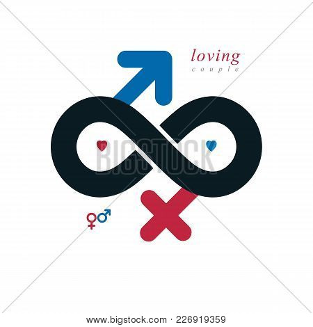 Timeless Loving Couple Concept, Vector Symbol Created With Infinity Sign And Male Mars An Female Ven