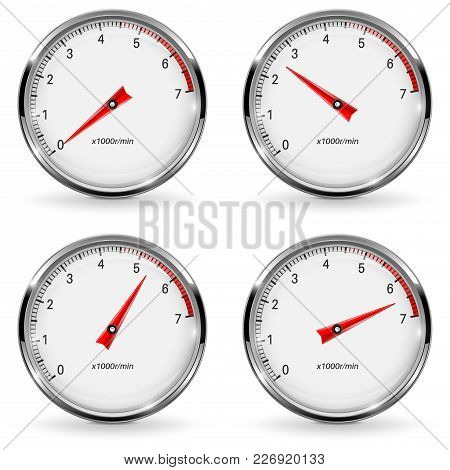 Manometer. Round Gauge With Metal Frame. Different Indication. Vector 3d Illustration Isolated On Wh