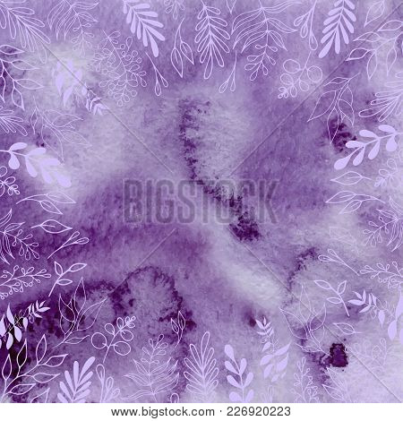 Watercolor Ultraviolet, Purple Abstract Background With Floral Arrangements