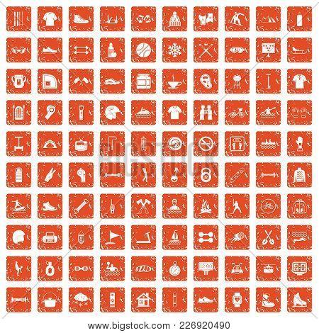 100 Sport Life Icons Set In Grunge Style Orange Color Isolated On White Background Vector Illustrati