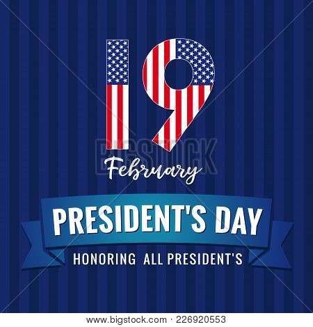19 February, Presidents Day Lettering Greeting Card. Happy President`s Day 19th February For Web Ban