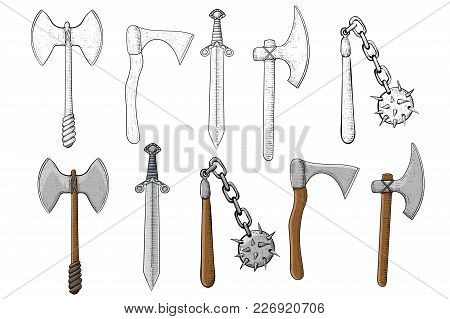 Old Set Of Weapons. Hand Drawn Sketch. Vector Illustration Isolated On White Background