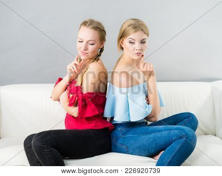 Two Young Pretty Women Being Mad At Each Other After Argue Of Fight. Friendship Rivaly And Envy Prob