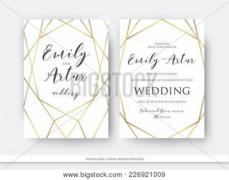 Wedding Double Invite, Invitation Save The Date Card Elegant Design With Luxury Vector Golden Foil G