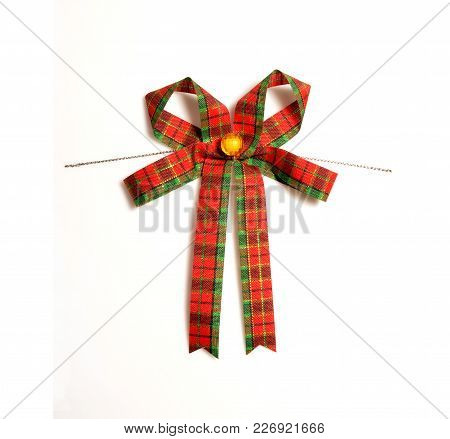 Fabric Bow Isolated On White Background, Tartan Cloth Bow For Decorate In Christmas Or New Year Time
