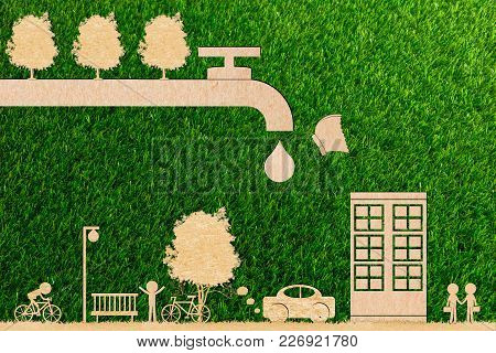 Ecology Concept Forest Water Save And Tree And Butterfly Droplet Tap Live On World Environment Of Pa