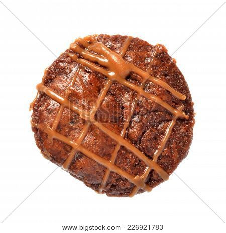 Isolate Brownie Cake, A Top View Closeup Photo Image On A Surface Of Fancy Brownie Cake Isolate On W